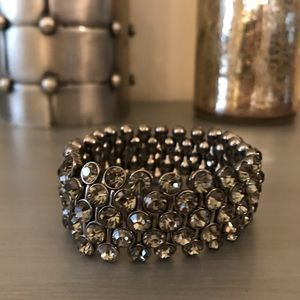 Gunmetal Gray Jeweled Mesh Fitted Bangle Bracelet